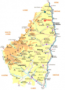 Le département de l'Ardèche, localisation de Préaux en rouge